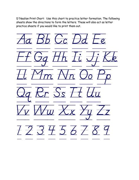 printable handwriting worksheets d nealian 11 best images about projects to try on pinterest