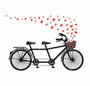 Tandem Bicycle With Red Hearts Vector By Amourfou  Image 1834796