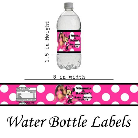 Minnie Mouse Personalized Water Bottle Labels