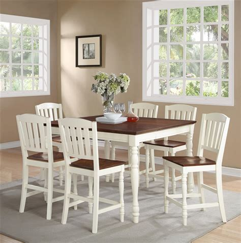 ramona 7 piece walnut finish casual dining room set ramona 5 piece counter height dining set in antique white