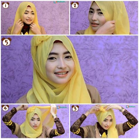 tutorial hijab paris wajah bulat simple 15 tutorial hijab pashmina wajah bulat simple 1000
