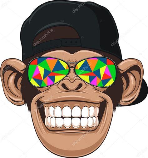 clipart divertenti divertente scimmia con gli occhiali vettoriali stock