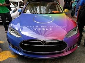 Tesla Violet Tesla S Model S Pride Mobile Shows Equality Without