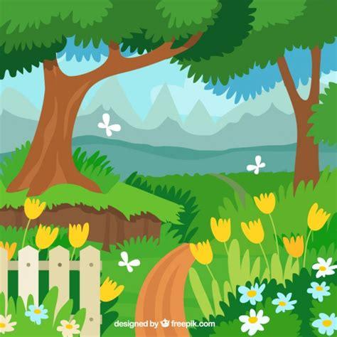 garden layout vector flat garden landscape design vector free download