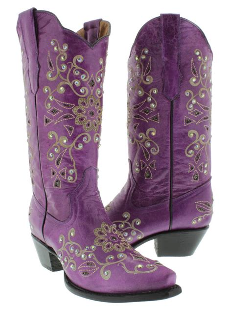 ebay womens boots womens purple python inlay rhinestone western leather
