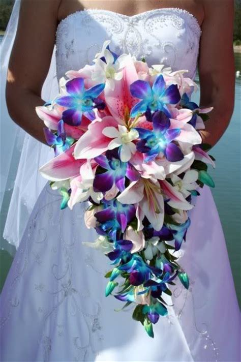 wedding bouquet lilies and orchids cascading lilies and orchids bouquet wedding flower