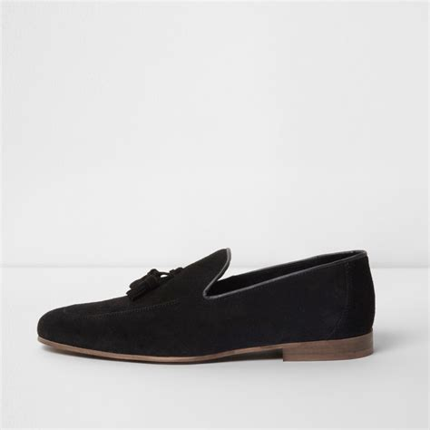 all black loafers mens river island mens black suede tassel loafers bluewater