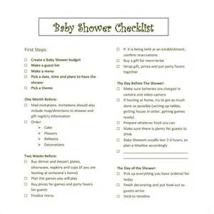 baby shower checklist template sle baby shower checklist 9 documents in word pdf