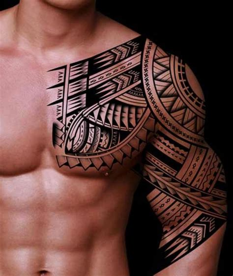 tribal chest to arm tattoo 28 tribal half sleeve tattoos
