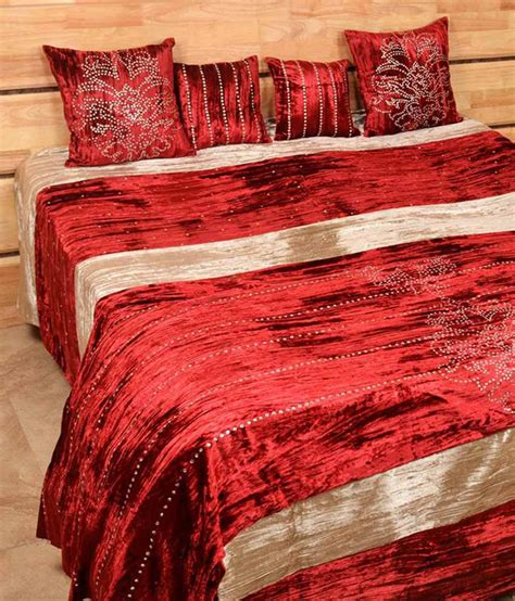 red bed sheets shree creations red velvet bed sheets buy shree