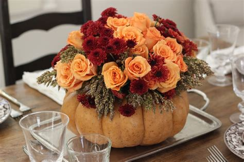 Thanksgiving Table Centerpieces Steffens Hobick Thanksgiving Table Setting Diy Flower Pumpkin Centerpiece Woodland