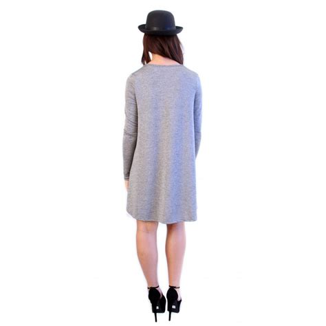 gray swing dress grey long sleeved swing dress from parisia