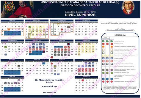 Calendario R 2016 Calendario Escolar 2015 2016 Universidad Michoacana De San