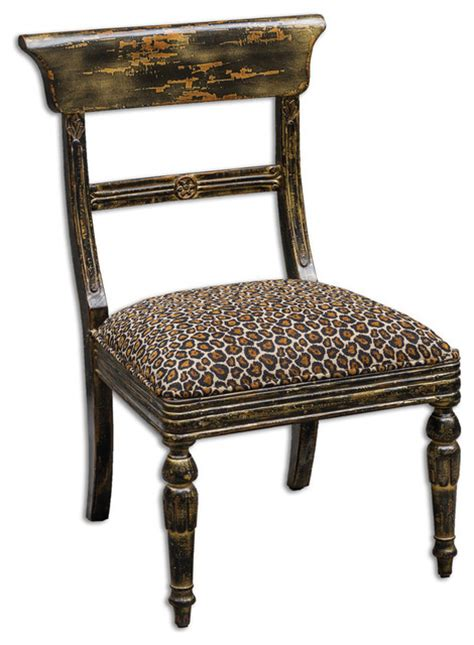 Tambra Leopard Print Accent Chair Transitional Dining Animal Print Dining Chairs