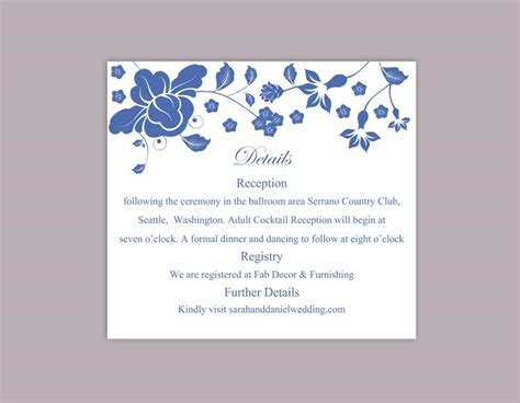 Word Card Editable Template by Diy Wedding Details Card Template Editable Word File