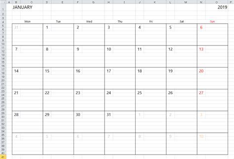 simple excel calendar template