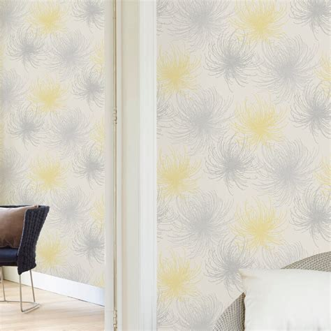 glitter wallpaper hanging instructions grandeco cosmo floral yellow glitter wallpaper