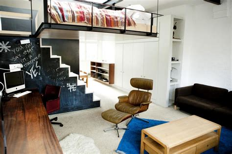 london studio apartment with suspended bed and rooftop modern bohemian studio flat with suspended bed