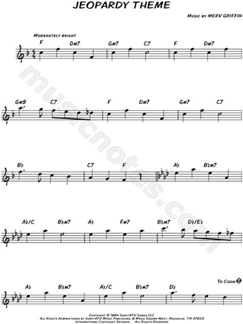 Quot Jeopardy Theme Quot From Jeopardy Sheet Music Leadsheet Jeopardy Theme Song Free