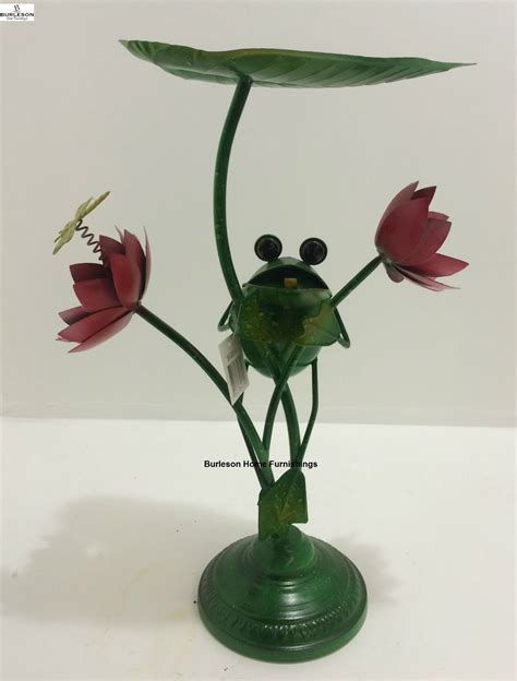 frog home decor large metal frog with flowers home decor garden gift