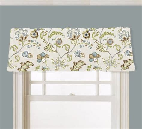 Blue Gray Valance Valance Floral Kaufmann Chic Steel Fabric Brown Blue