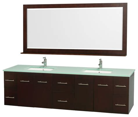 Green Glass Vanity by 80 Quot Bathroom Vanity With Green Glass Top