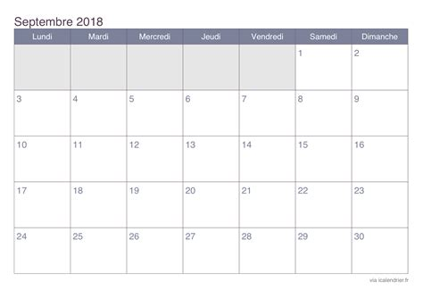Calendrier 2018 Septembre Calendrier Septembre 2018 224 Imprimer Icalendrier