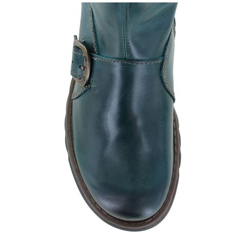 fly mes 2 womens leather mid calf wedge boots petrol