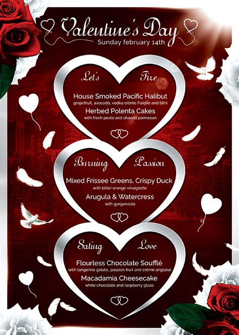 valentines menu template valentines day flyer menu psd design for photoshop