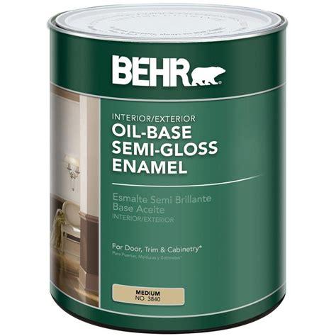 gloss paint behr 1 qt med oil based semi gloss enamel interior