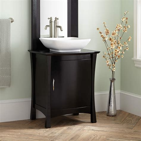 "Signature Hardware 24"" Frisco Vessel Sink Vanity with Mirror in Black"