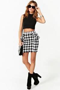Set Peplum Houndstooth gal inspired houndstooth peplum skirt pencil skirt medium ebay