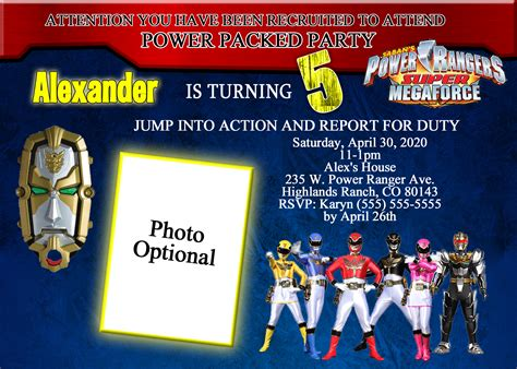 powers card template power rangers brithday invitation kustom kreations