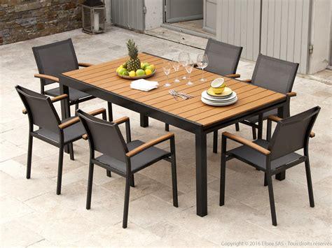 salon de jardin extensible salon de jardin aluminium gris et composite bois 1 table extensible 180 280cm assises maelig
