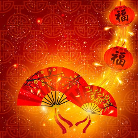 new year flower template 中国风春节背景矢量图 春节矢量图 三联