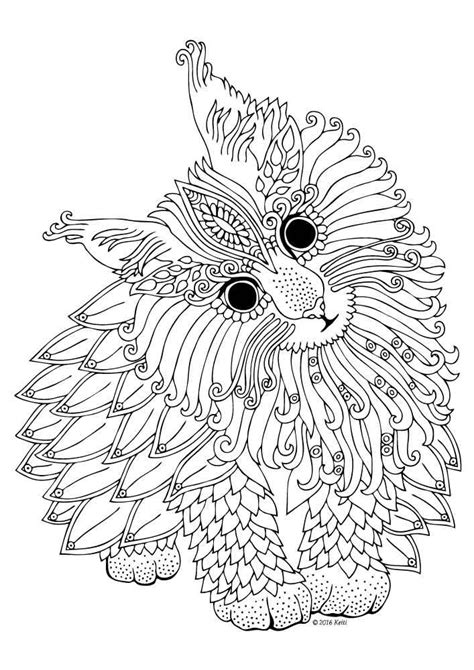 watercolor coloring book for adults maine coon cat coloring page geometric cat
