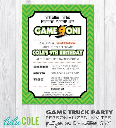 free printable birthday invitations video games game truck gamer personalized birthday party invitation