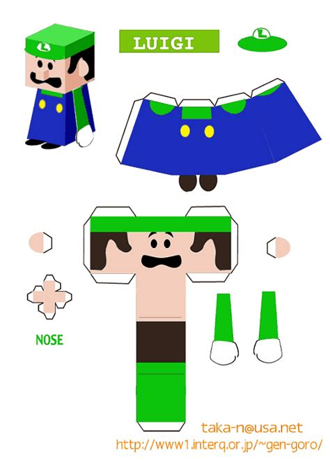 mario crafts for luigi paper craft cutout ideas luigi