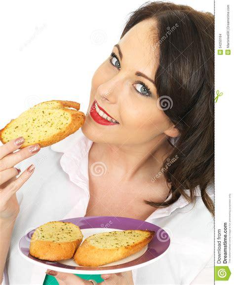 ate garlic pretty a slice of garlic bread stock photo image 54250184