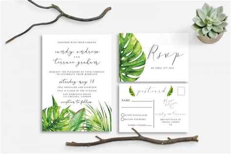 Leaf Themed Wedding Invitations by Printable Wedding Invitation Tropical Nature Leaves Green