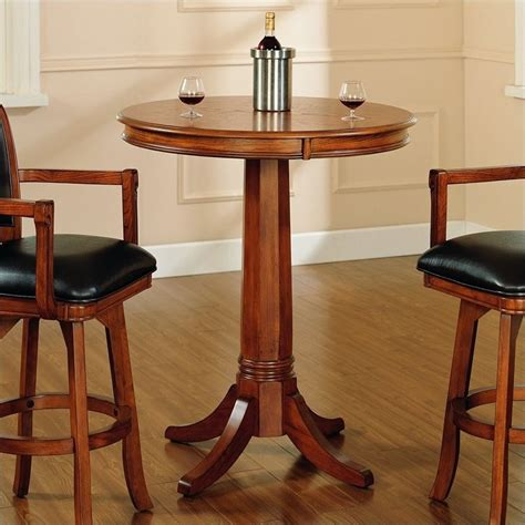 Bar Bistro Table Hillsdale Park View Bar Height Pub Table In Medium Brown Oak 4186ptb