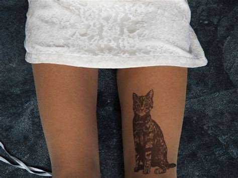 tattoo cat tights hand painted cat tattoo tights