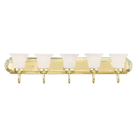 Brass Bathroom Lighting Shop Livex Lighting 5 Light Home Basics Polished Brass Bathroom Vanity Light At Lowes
