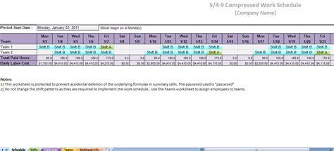 compressed work week template printable work schedule