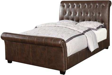 king upholstered sleigh bed innsbruck ii brown king upholstered sleigh bed from