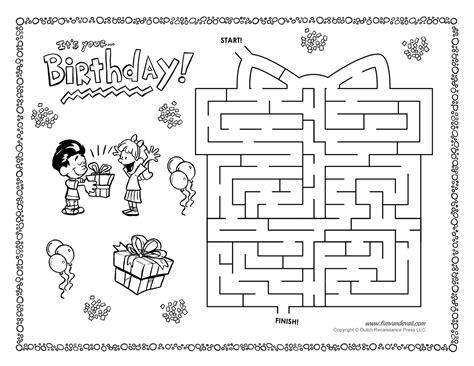 printable birthday activity sheets free printable mazes