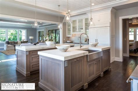 marble double island kitchen for the home pinterest rift sewn kitchen island with calcatta white marble
