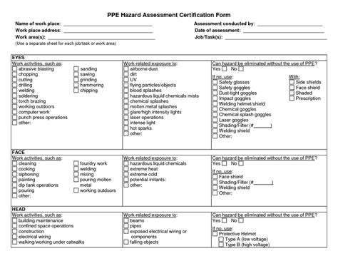 osha risk assessment template ppe certification tc homes