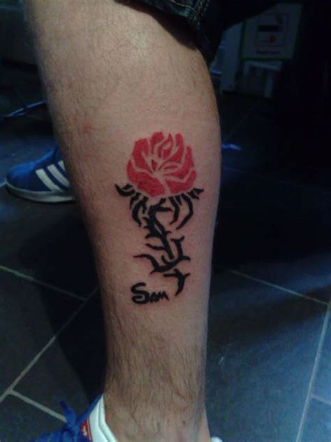 tribal rose tattoos design for men on calf http