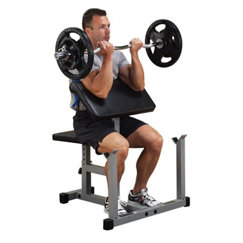 bench bicep curls body solid preacher curl machine gymstore com